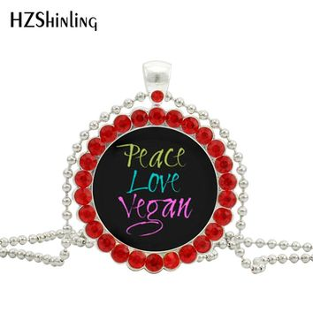 2017 New Peace Love Vegan Necklace Herbivore Plants Jewelry Vegetarian Crystal Pendant Ball Chain Necklaces