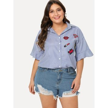 Womens Embroidered Patch Striped Shirt - Plus Size