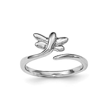 Rhodium Plated Sterling Silver Dragonfly Bypass Toe Ring
