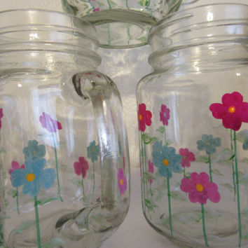 Hand Painted Floral Mason Jar Mugs - Red, Blue, and Purple Flowers
