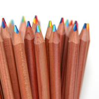 Rainbow Pencil Natural : kids drawing supply : Stubby Pencil Studio
