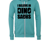 I Believe In Dinosaurs (little dinosaurs) - Unisex Full-Zip Hooded Sweatshirt