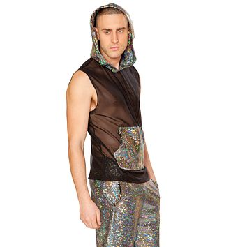 Men's Holographic Broken Glass Hooded Mesh Tank