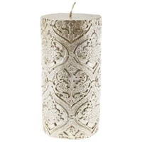 """3"""" x 6"""" Gold & Cream Debossed Lace Pillar Candle 