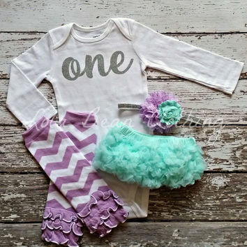 READY TO SHIP Baby Girl 1st Birthday Outfit Photography Props Silver One Onesuit Mint Bloomers Legwarmers Lavender Cake Smash Outfit Chevron