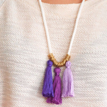 Rope Necklace, Tassel Necklace, Statement Necklace,Nautical Rope,Nautical Jewelry,Tassel,Ombre Necklace,Ombre Tassels,Purple Necklace