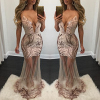 Condole belt  nightclub sequined gowns deep V bead piece dress