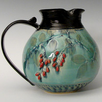 Chubby Pitcher with Red Berries by Suzanne Crane: Ceramic Pitcher | Artful Home