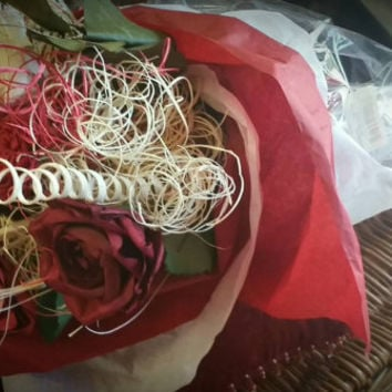 Red rose boquet. Paper/ wood Flower arrangement ready to go in a vase.