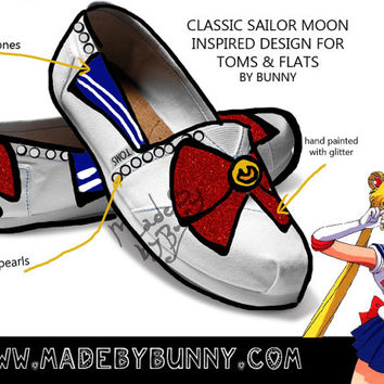 SAILOR MOON   Bishōjo Senshi   Magical Girl   Design for TOMS and flats with rhinestones, glitter and pearls