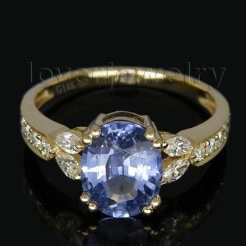 Vintage Oval 7x9mm Solid 14Kt Yellow Gold Natural Diamond Tanzanite Ring SR174