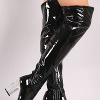 Stretched Patent Chunky Lucite Heeled Over-The-Knee Boots