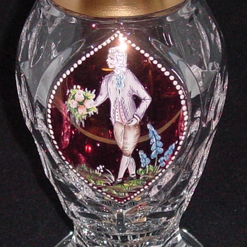 455038 Crystal With Cranberry Flashed Glass Oval Panel Of Painted Boy With Bouquet 4 Rows Of Round Cuts, Cuts On Base & Bottom Gold Rim