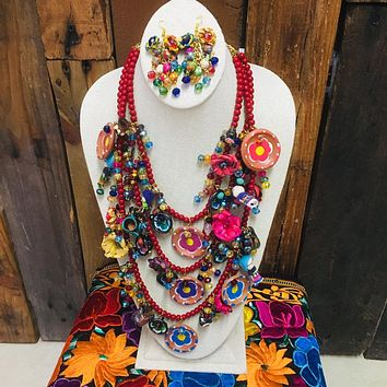 Mexican Fiesta Statement Necklace & Earrings Set