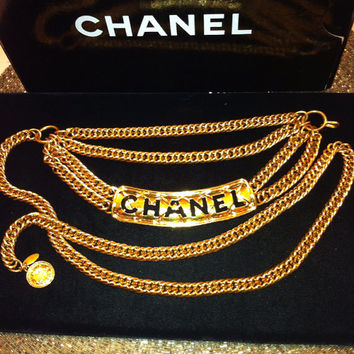 Authentic 90's CHANEL Quilted Gold Tone, Chunky Chain Belt/ Necklace