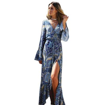 Women Summer Beach Bohemian Print Long Dress V Neck Kimono Sash Wrap Flare Sleeve Split Sexy Dress Elegant Ladies Maxi Dresses