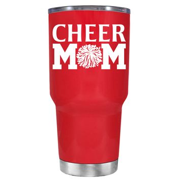 Cheer Mom Pom Pom on Red 30 oz Tumbler Cup