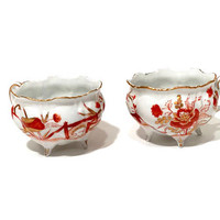 Art Deco Japanese Flower Tea Cups, Set of 2, Hand Painted Rust Gold Flowers, Porcelain, 4 Legged Cup, Ruffled Edges, Vintage Charles Sadek