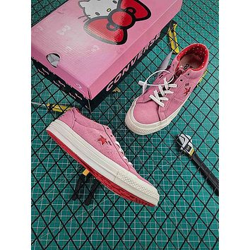 Hello Kitty x Converse One Star Grey Suede Low Top Pink Shoes
