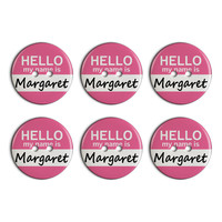 Margaret Hello My Name Is Plastic Resin Button Set of 6