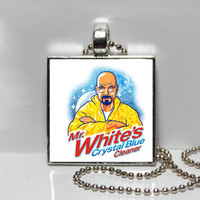 Breaking Bad Bryan Cranston Mr. White's Crystal Blue Cleaner Square Tile Pendant Necklace
