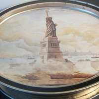 Sunshine Biscuit Tin With Statue Of Liberty and Liberty Bell 1985, Collectible Vintage,Home decor,Castawayacres