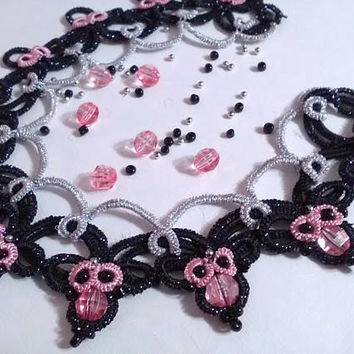 Black and Pink Lace/ Ankars tatting necklace/ OOAK Necklace/  Gift for her/  Lace Collar/ Formal Jewelry with Beads/Tatting jewelry/  Unique