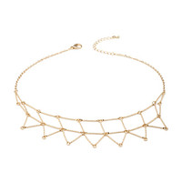 FOREVER 21 Geo Shapes Statement Necklace Gold One