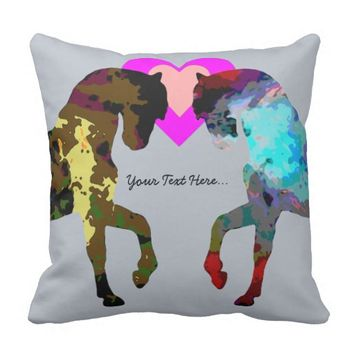 Personalized Hearts And Horse On Blue Pillow