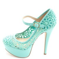 Crochet Lace Mary Jane Platform Pumps by Charlotte Russe - Mint