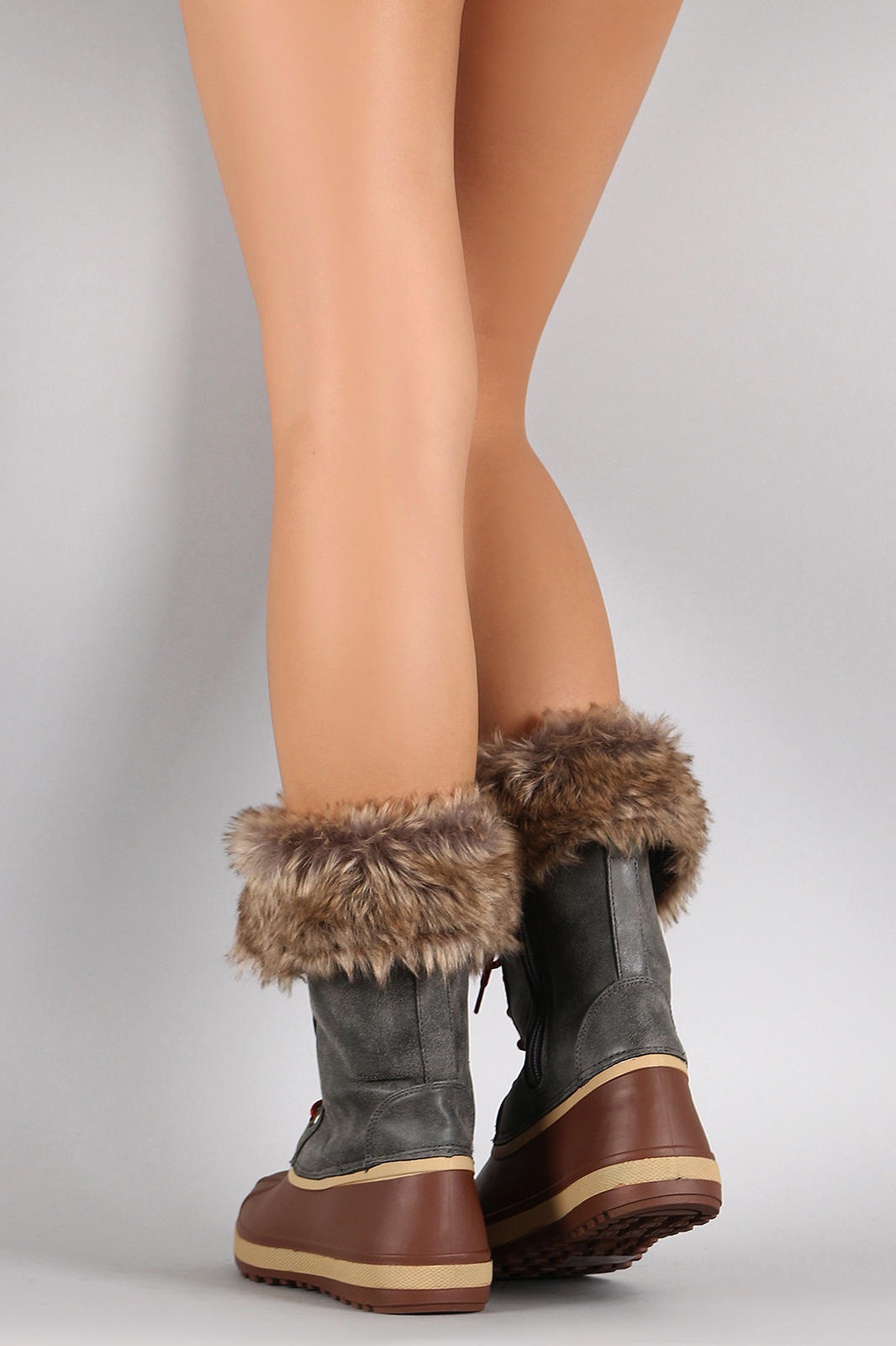 dd588d2fd8458 Bamboo Faux Fur Cuff Lace Up Duck Boots from URBANOG | Christmas