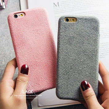Fashion Vintage Candy Color Fuzzy Case For iphone 7 Case Luxury Soft TPU Slim Back Cover Phone Cases For iphone7 6 6S Plus Capa -JMJewelry