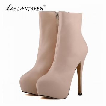 LOSLANDIFEN Women Sexy Matte High Heels Boots PU Leather Round Toe Autumn Winter Platform Shoes Stiletto Size 4 - 11 819-7MA