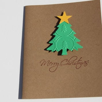 Christmas Cards, Set of 40, Embossed Trees