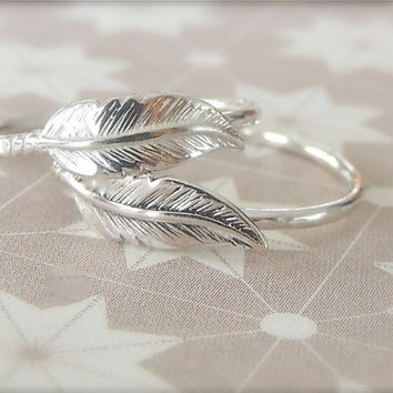 Two Silver Feather Ring, Feather Jewelry, Sterling Silver Ring, Solid Silver Ring, Feather Ring, Boho Ring, Wanderlust Jewelry, all sizes