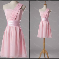 Short homecoming dress one shoulder chiffon with sashes lace up back cocktail dress