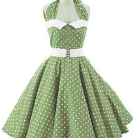 Classic Dame green white polka dot 50s style swing dress #50sstyledress  #pinupdress #polkadotdress #swingdress