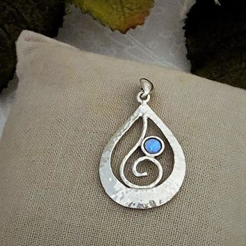 Artisan Crafted Hammered Sterling Silver Natural Blue Opal Pendant