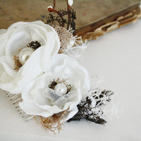 Wedding Rustic Hair Comb White Cream Vintage Hand Crochet Lace, Pearls,