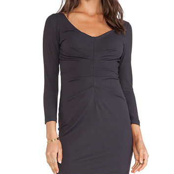 Susana Monaco Center Pleat Dress in Charcoal