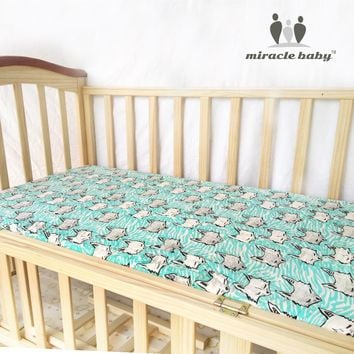 MIRACLE BABY 100% Cotton Muslin Fitted Crib 130x70cm infant Soft Set Mattress Cover Bedspeard Sheet Bedding Cover Linens Unisex