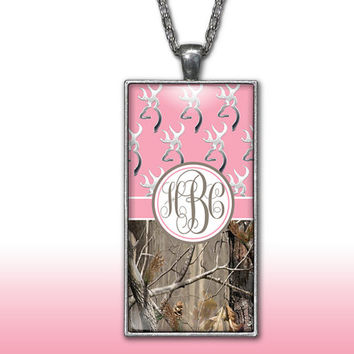 Camo Monogram Pendant Charm Necklace Pink Deer Head Personalized Country Girl Custom Initial Necklace, Monogram Jewelry