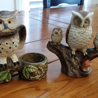 Set of 2 Painted Vintage Owl Figurine Statue Ceramic Tea Light Candle Holder Great Spring Woodland Decor