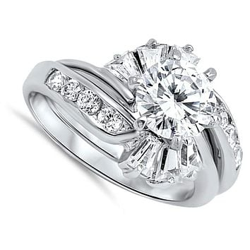 1 Carat with Halo Twist Baguette Cubic Zirconia Engagement Ring with Matching Band Set