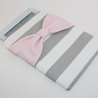 iPad Case / Sleeve - Gray & White Stripe with Light Pink Bow - Padded