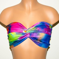 Tie Dye Multi Color Bandeau Top, Beach Bra Swimsuit Top, Rainbow Bikini Top Bandeau, Twisted Top Bathing Suits, Spandex Bandeau Bikini