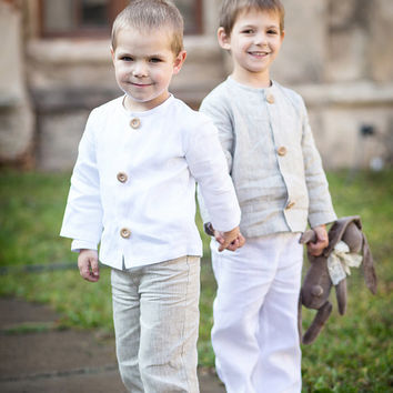 Linen boy suit - Beach weddings ring bearer linen outfit -Toddler boy wedding  linen suit - Linen toddler boy costume