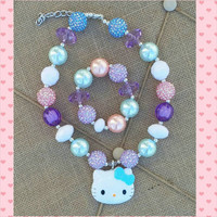 Hello Kitty Necklace and Bracelet Set - Lavender Pink Teal - Easter Basket Stuffer - Photo Prop - First Birthday - Hello Kitty Birthday