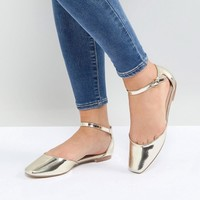 Glamorous Gold Ankle Strap Flat Shoes at asos.com