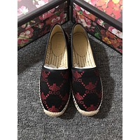 GUCCI 2019 new small bee straw one pedal canvas fisherman shoes #2